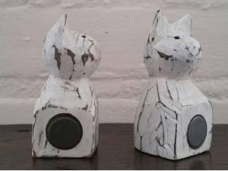 Magneethouders kat setje van hout