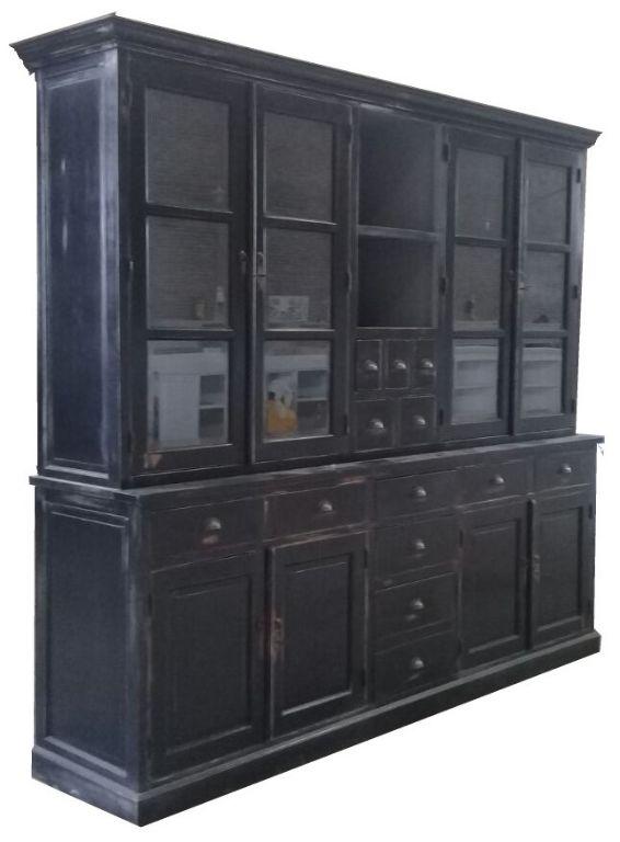 Buffetkast Hank zwart geschuurd - grijs 240 x 50/40 x 220cm