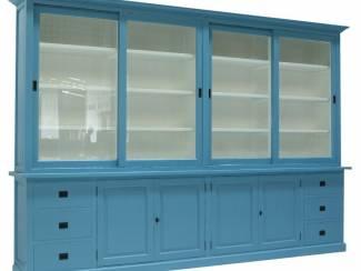 Buffetkast Lopik oud blauw 350 x 50/40 x 240cm