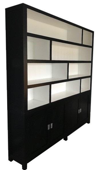 Grote Design Boekenkast Zwart Wit 230cm Open Vakken