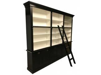 Boekenkast Reewijk zwart - wit 300 x 36 x 240cm incl. trap
