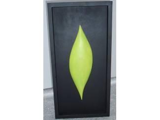 WAND DESIGN BLACK GREEN LEAF 50X25X5 CM Nieuw