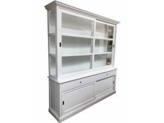 Landelijke hoge white wash buffetkast 240 x 50/40 x 240cm