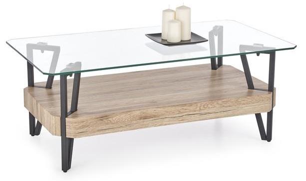 ACTIE Moderne robuuste salontafel met glazen blad Abrilla NIEUW