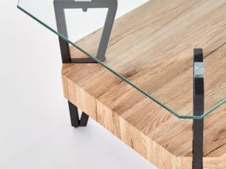 Tafels ACTIE Moderne robuuste salontafel met glazen blad Abrilla NIEUW
