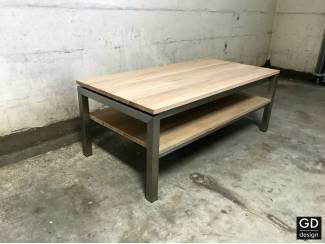 Eiken salontafel met rvs poten & extra plank