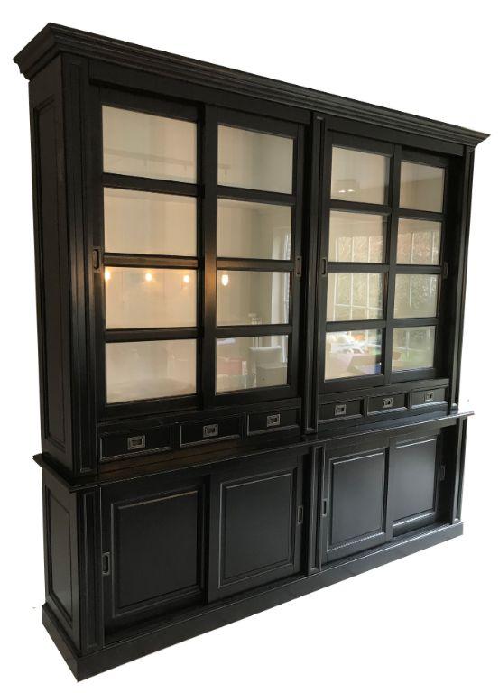 Hoge Zwarte Buffetkast 240cm X 260cm Witte Binnenkant