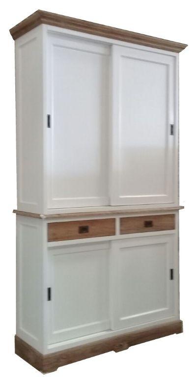 Winkelkast Wit Met Teak Lijsten 120 X 220cm Dichte Deuren