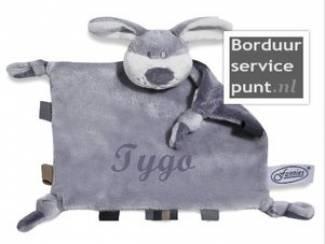 Tutpopje hondje grijs met naam