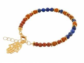Sieraden Armband met rudraksha, lapis lazuli en jaspis