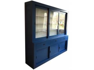 Buffetkast blauw - wit 240 x 50/40 x 220cm greeploze laden