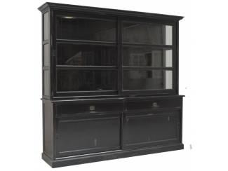 Buffetkast Heino antiek zwart geschuurd 235 x 50/40 x 220cm