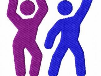 Dansende mensen (2 Kleuren) voor borduurmachine