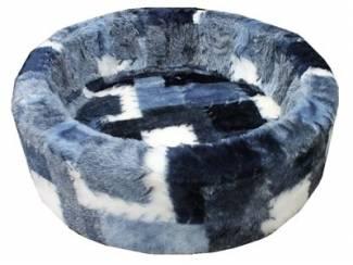 Petcomfort hondenmand bont lapjesdeken blauw