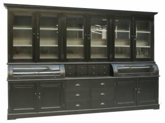 Buffetkast Bastiaan zwart-grijs 310 x 210cm bolle kleppen