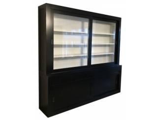 Buffetkast zwart - wit strak design laden greeploos 260 x 240cm