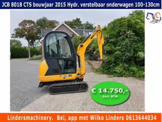 Te koop minigraver JCB 8018 CTS bouwjaar 2015