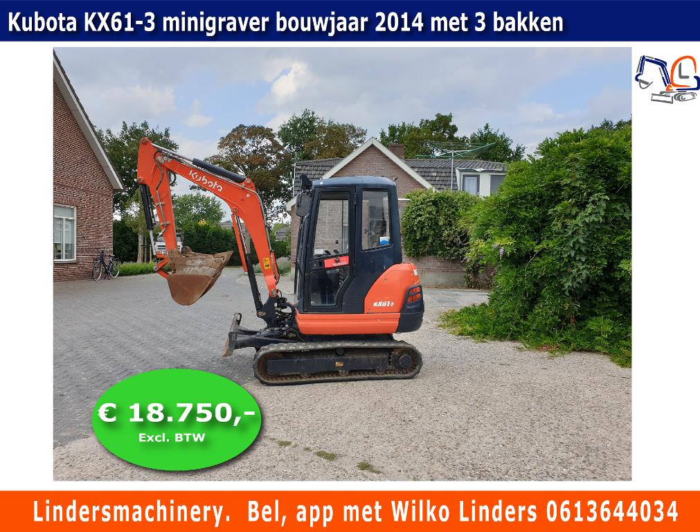Kubota KX61-3 minigraver bouwjaar 2014