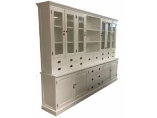 Witte landelijke buffetkast XL 20 laden 300 x 230cm