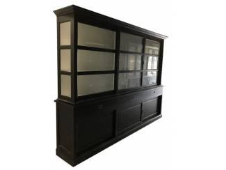 Grote zwarte buffetkast witte binnenkant 300 x 220cm