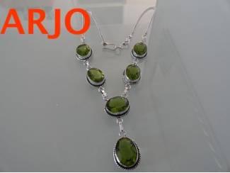 Groene edelsteen halsketting, Nr 315-GEEN VERZENDKOSTEN