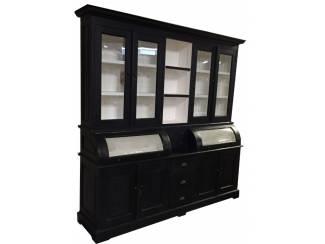 Zwarte buffetkast 200 x 210cm bolle kleppen wit binnen