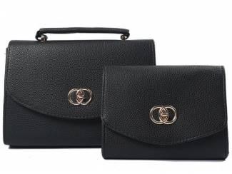 Zwarte handtas met snake print en clutch van het merk brakelenzo