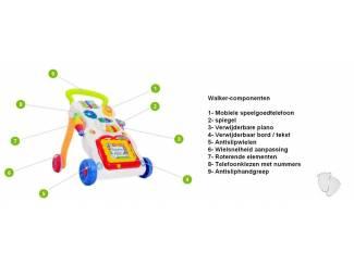 Multifunctional 3in1 interactieve pratende Baby Looptrainer.