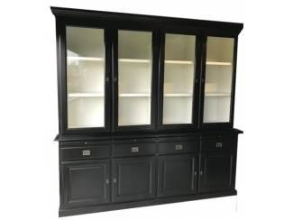 Zwarte buffetkast met witte binnenkant 225 x 225cm