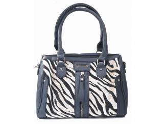 Donker grijze handtas met zebra print van het merk brakelenzo