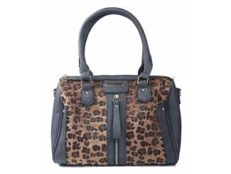 Donker grijze handtas met luipaard print van het merk brakelenzo
