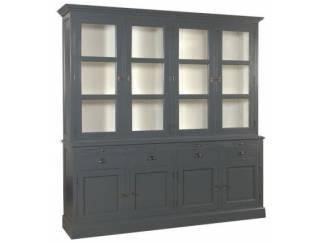 220cm brede grijze buffetkast met witte binnenkant draaideuren en