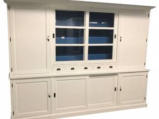 Buffetkast wit - blauw 300 x 50/40 x 230cm dichte zijdeuren