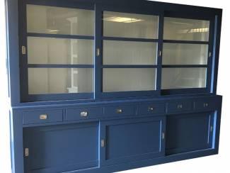 Buffetkast design blauw - wit 300 x 50/40 x 220cm RVS beslag