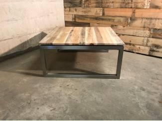 Vierkante salontafel rvs met reclaimed wood 90x90cm