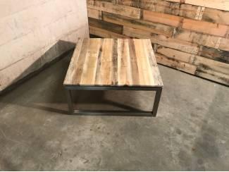 Tafels Vierkante salontafel rvs met reclaimed wood 90x90cm