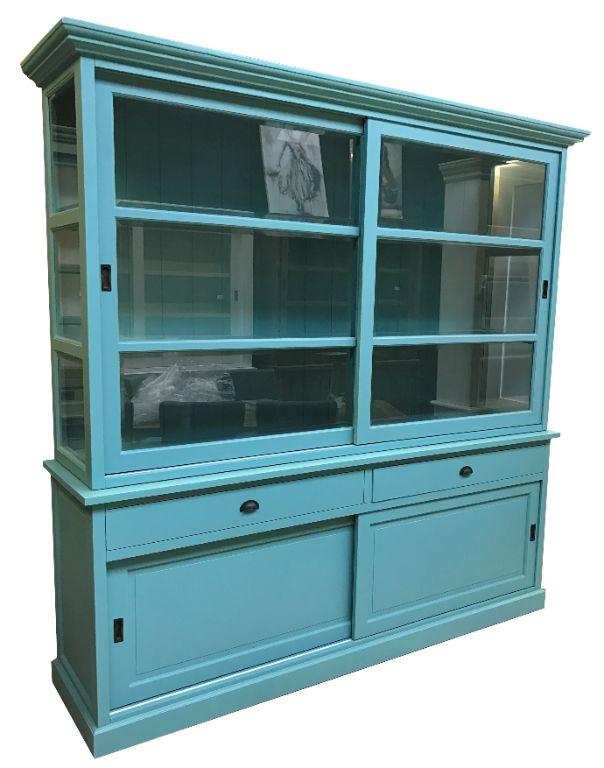 Buffetkast XL Lisse turquoise 235 x 58/50 x 230cm