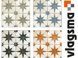 Vintage vloertegels en plavuizen peronda star 45x45 4 kleuren