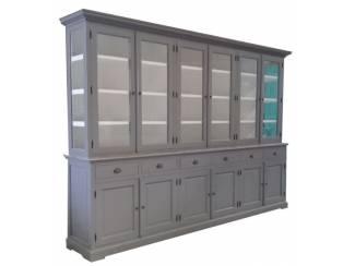 Buffetkast  grijs - wit 310 x 50/40 x 220cm zijkanten glas