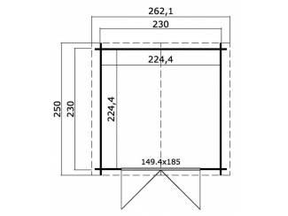 Huisjes en Meubelen Tuinhuis-Blokhut Chicago (1004488): 250x250 cm