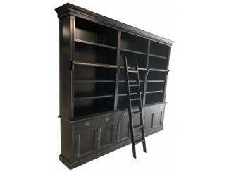 Boekenkast Reewijk zwart - zwart 300 x 36 x 240cm incl. trap