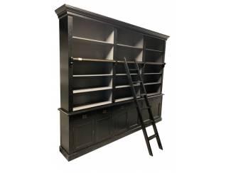 Boekenkast zwart - grijs 300 x 50/40 x 240cm incl. trap