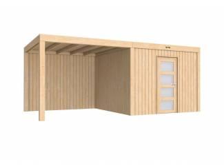 Tuinhuis-Blokhut Portland 307 x 307 met luifel 400cm