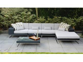 Aanbieding design loungeset Lineo zwart 3.80m x 1.90 gratis lev.