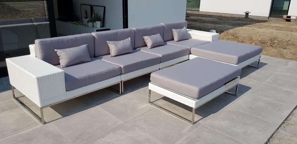Aanbieding Design Meubels.Aanbieding Design Lounge Tuin Bank Lineo Wit Wicker 3 80 X 1 90 M