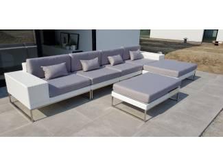 Aanbieding design lounge tuin bank Lineo wit wicker 3.80 x 1.90 m