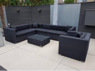 AANBIEDING loungeset tuin hoekbank zwart wicker, stoel en tafel
