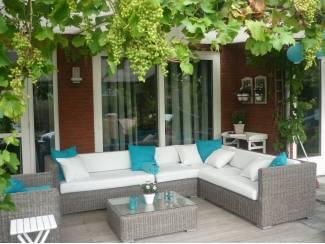 Aanbieding lounge tuin hoekbank rondwicker grijs, stoel, tafel