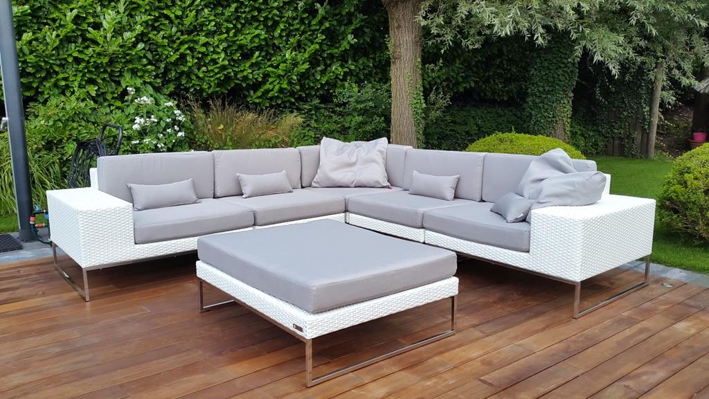 Aanbieding Design Meubels.Design Loungeset Aanbieding Tuin Set Hoekbank Wit 2 80x 280 Staal