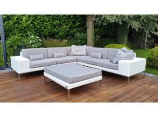 Design loungeset aanbieding tuin set hoekbank wit 2.80x.280 staal